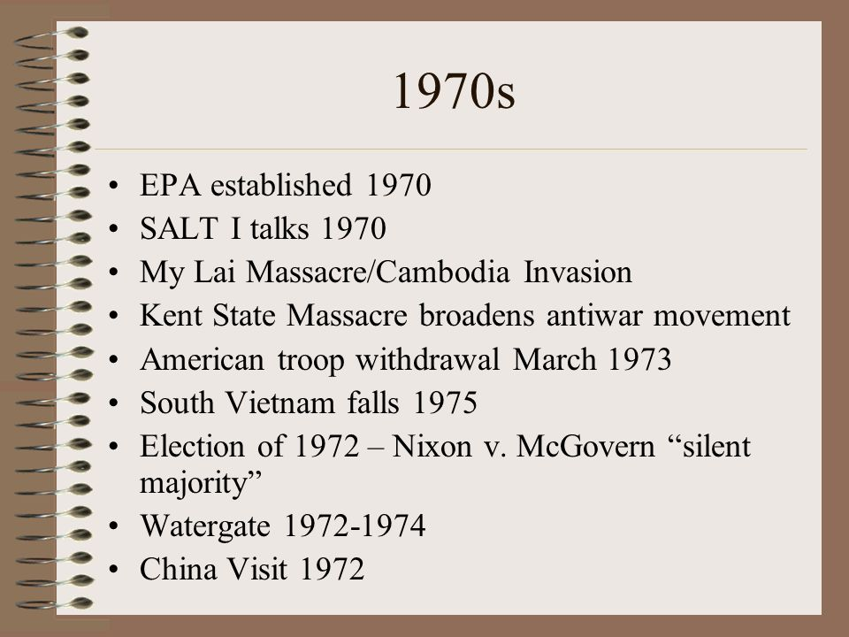 1970s EPA established 1970 SALT I talks 1970