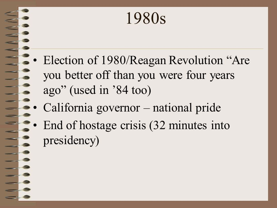 1980s Election of 1980/Reagan Revolution Are you better off than you were four years ago (used in '84 too)