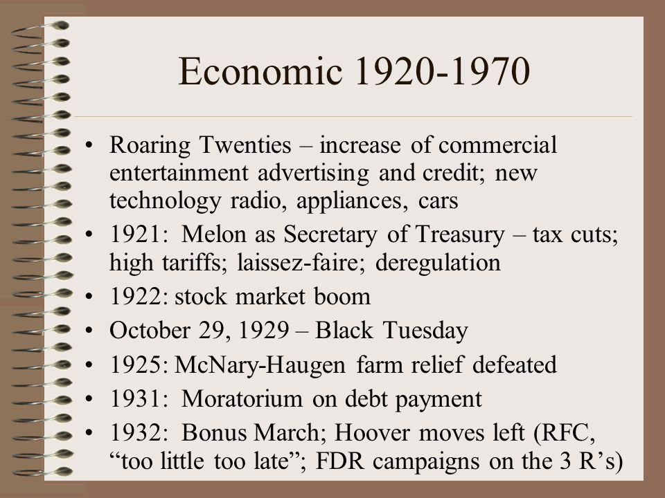 Economic 1920-1970 Roaring Twenties – increase of commercial entertainment advertising and credit; new technology radio, appliances, cars.