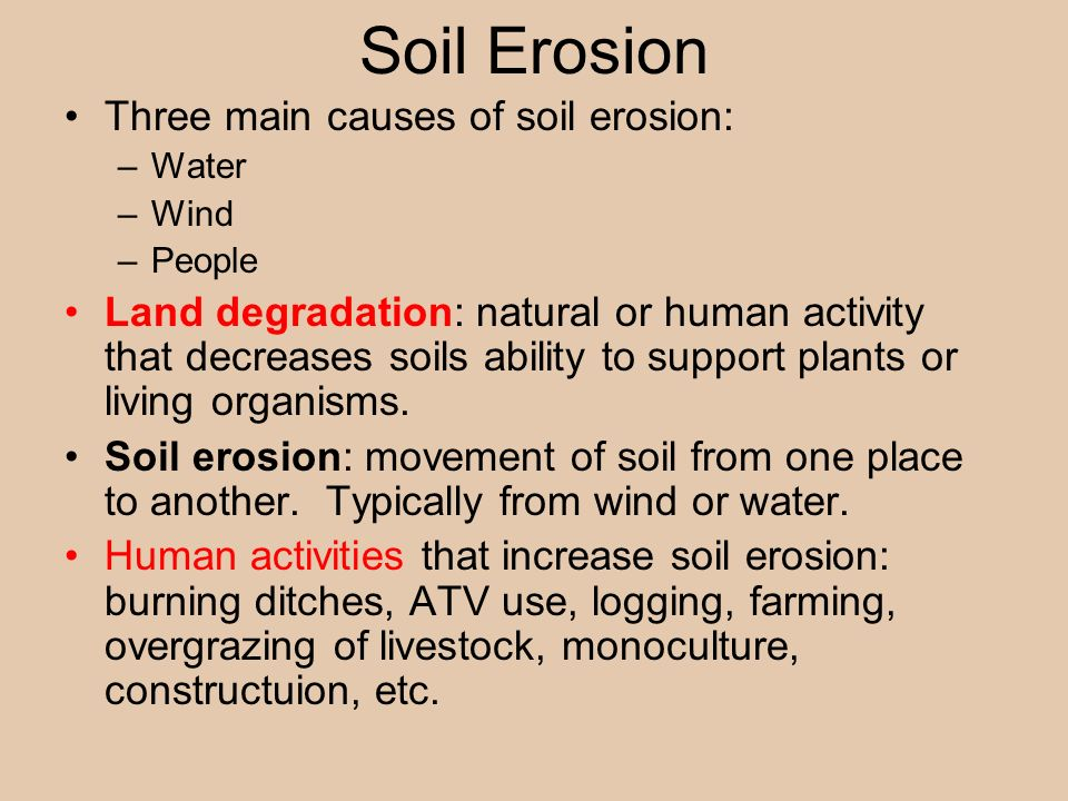 Earth systems resources ppt video online download 13 soil erosion three main causes of soil erosion water wind sciox Images