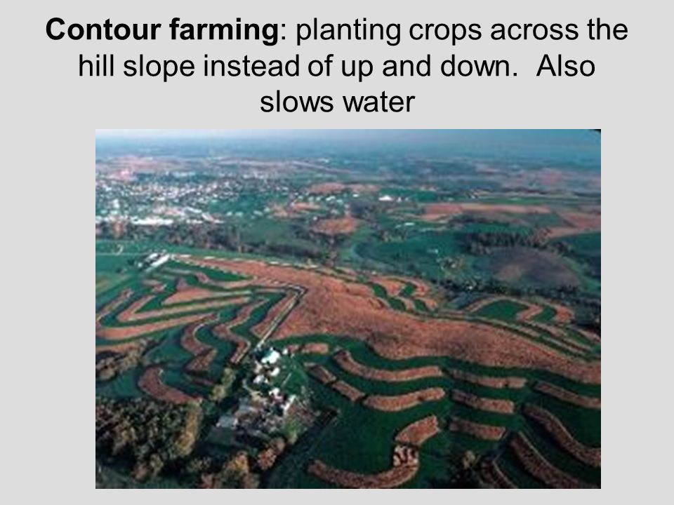 Contour farming: planting crops across the hill slope instead of up and down. Also slows water