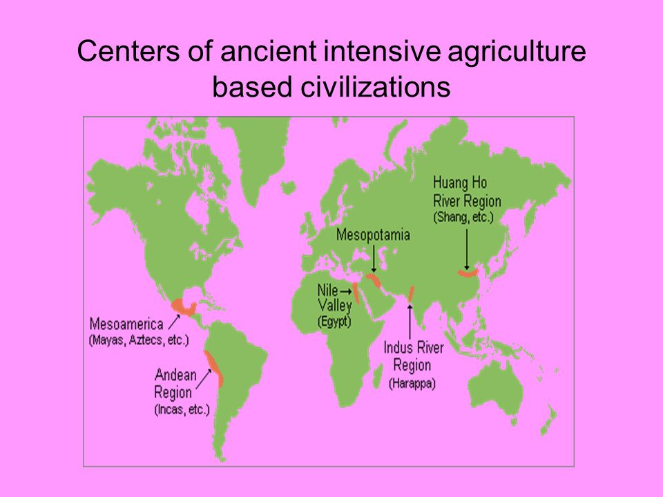 Centers of ancient intensive agriculture based civilizations