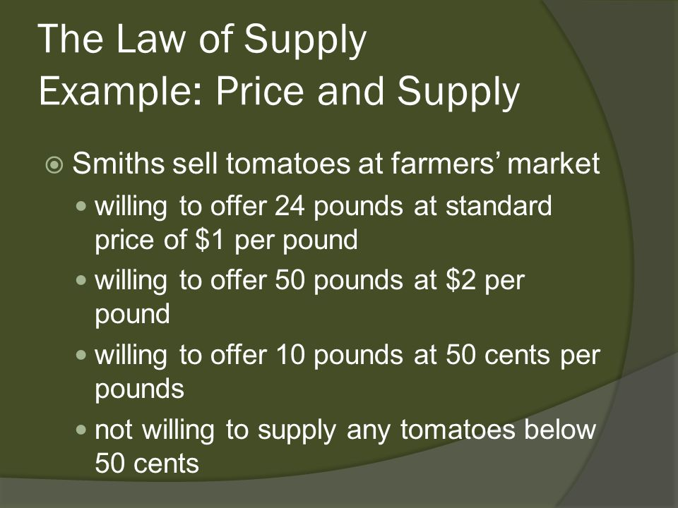 The Law of Supply Example: Price and Supply