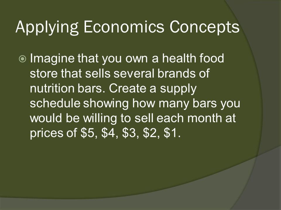 Applying Economics Concepts