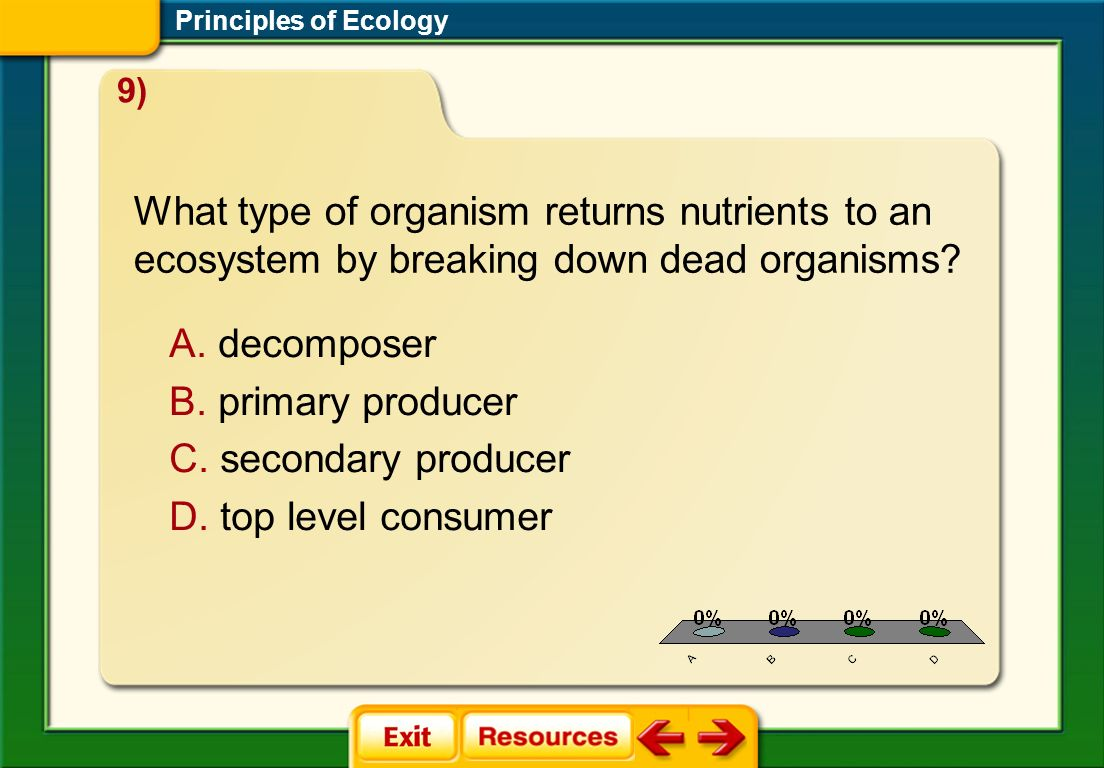 Principles of Ecology 9) What type of organism returns nutrients to an ecosystem by breaking down dead organisms