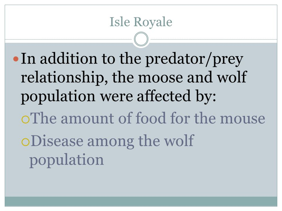 The amount of food for the mouse Disease among the wolf population