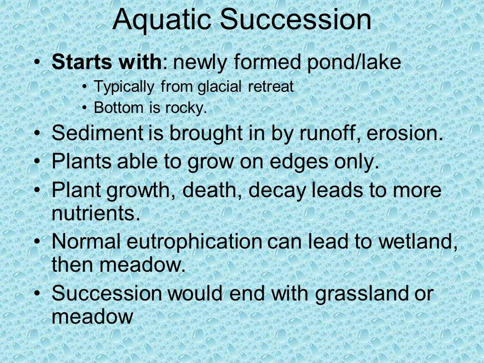 Aquatic Succession Starts with: newly formed pond/lake
