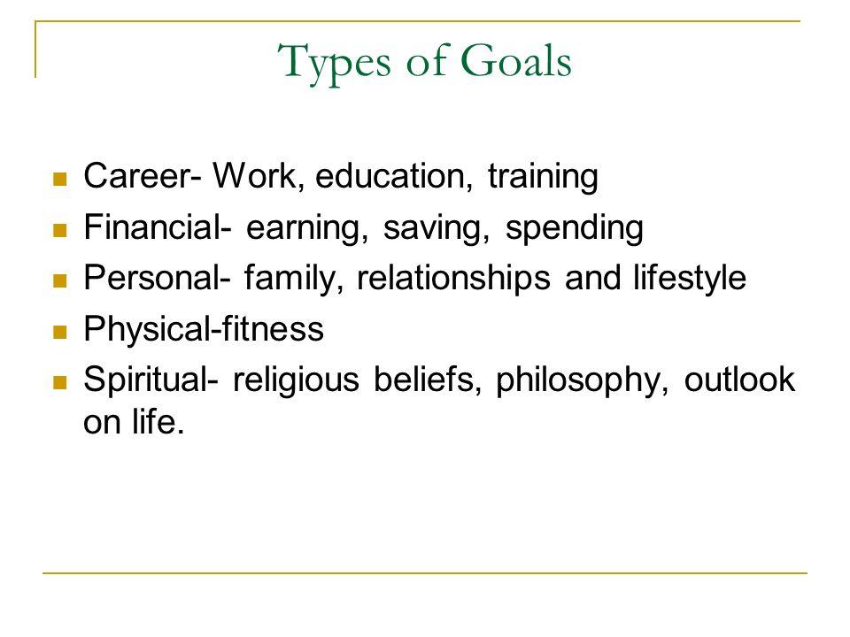 Types of Goals Career- Work, education, training