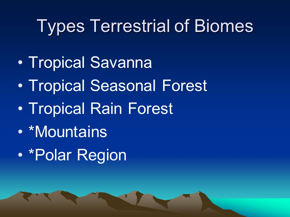 Types Terrestrial of Biomes