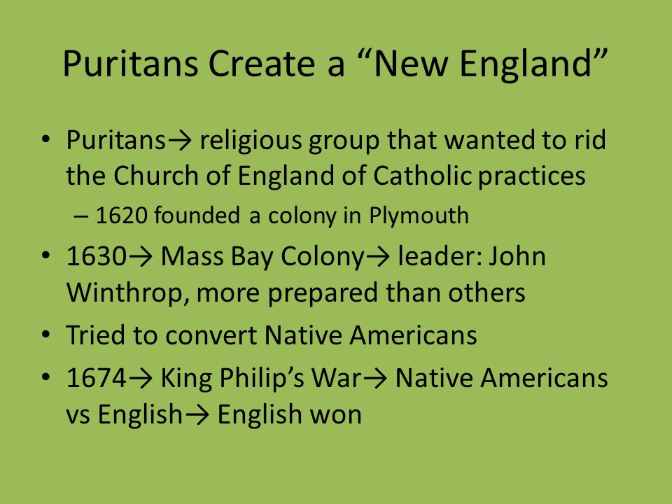 Puritans Create a New England