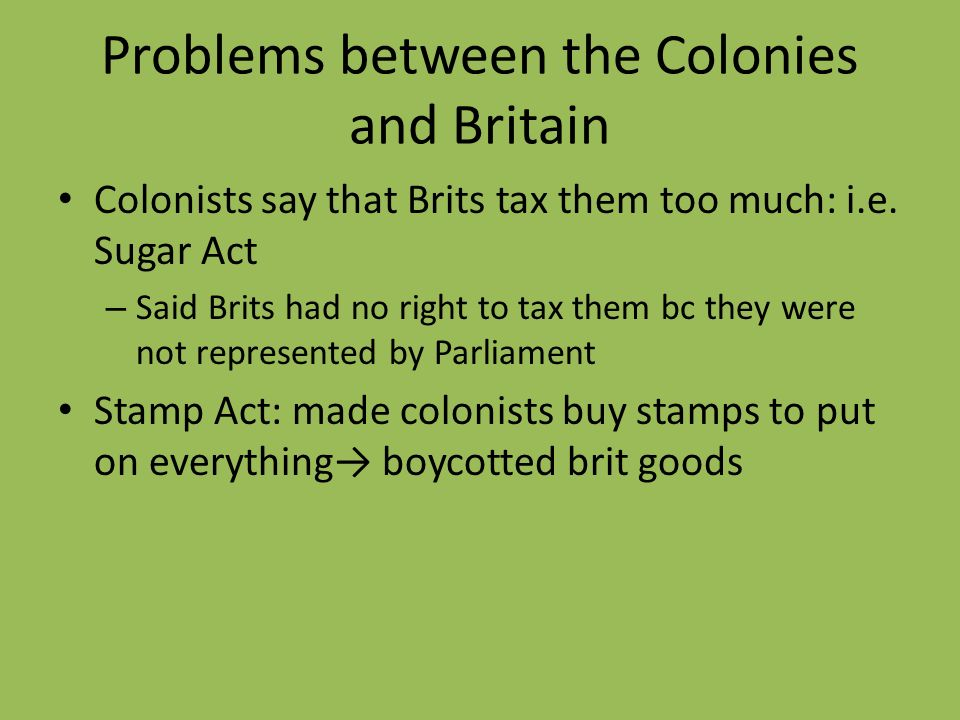 Problems between the Colonies and Britain