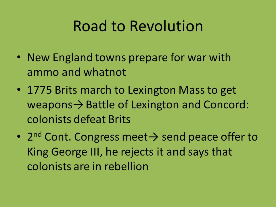 Road to Revolution New England towns prepare for war with ammo and whatnot.
