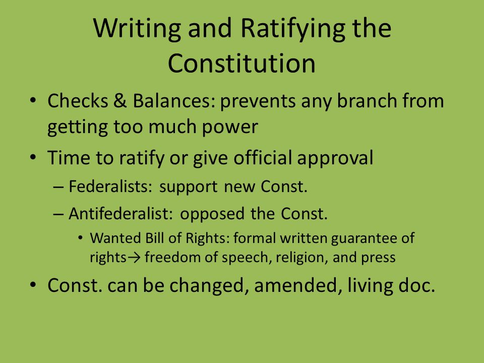 Writing and Ratifying the Constitution