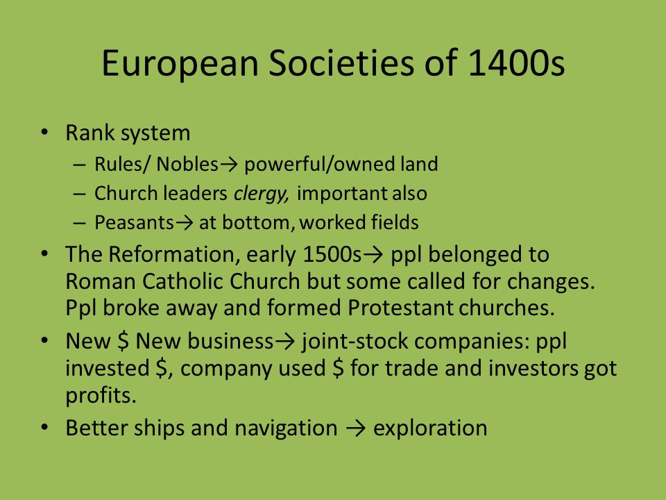 European Societies of 1400s