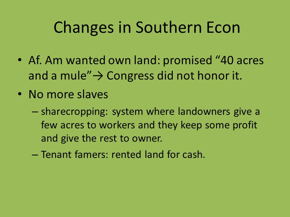 Changes in Southern Econ