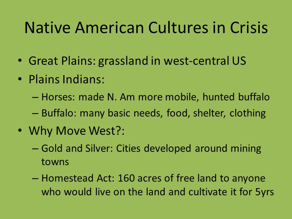 Native American Cultures in Crisis