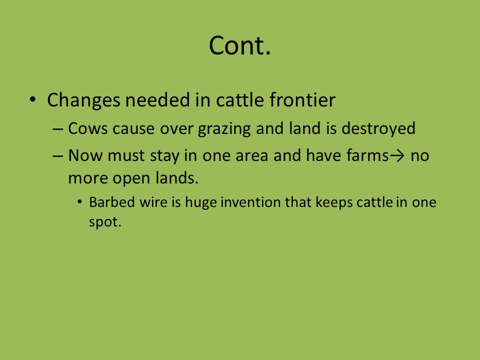 Cont. Changes needed in cattle frontier