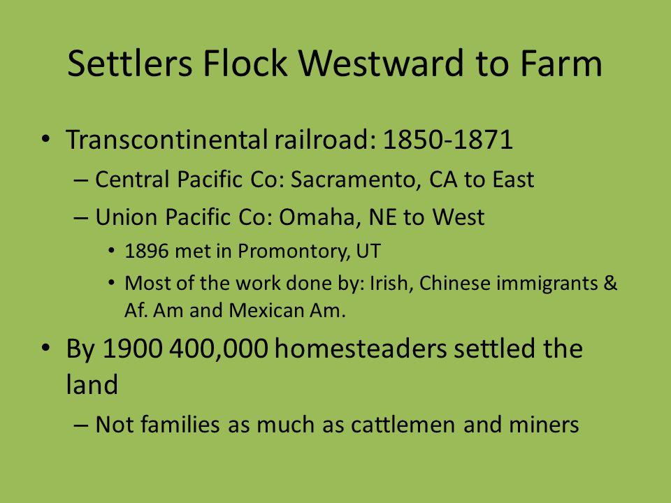 Settlers Flock Westward to Farm