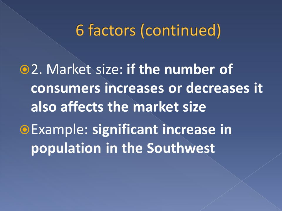 6 factors (continued) 2. Market size: if the number of consumers increases or decreases it also affects the market size.