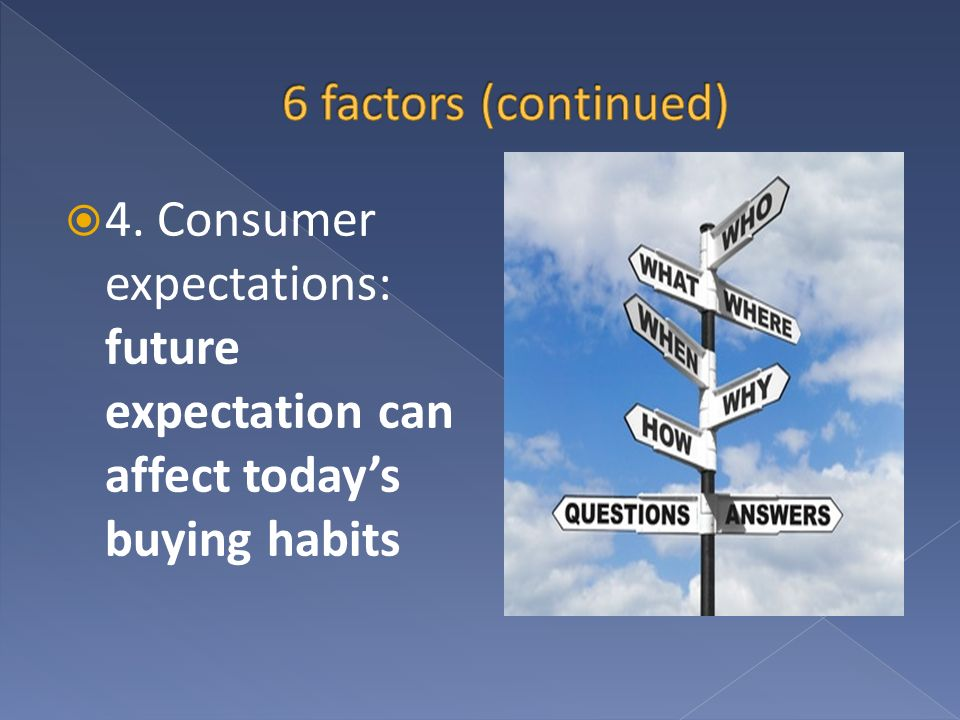 6 factors (continued) 4. Consumer expectations: future expectation can affect today's buying habits