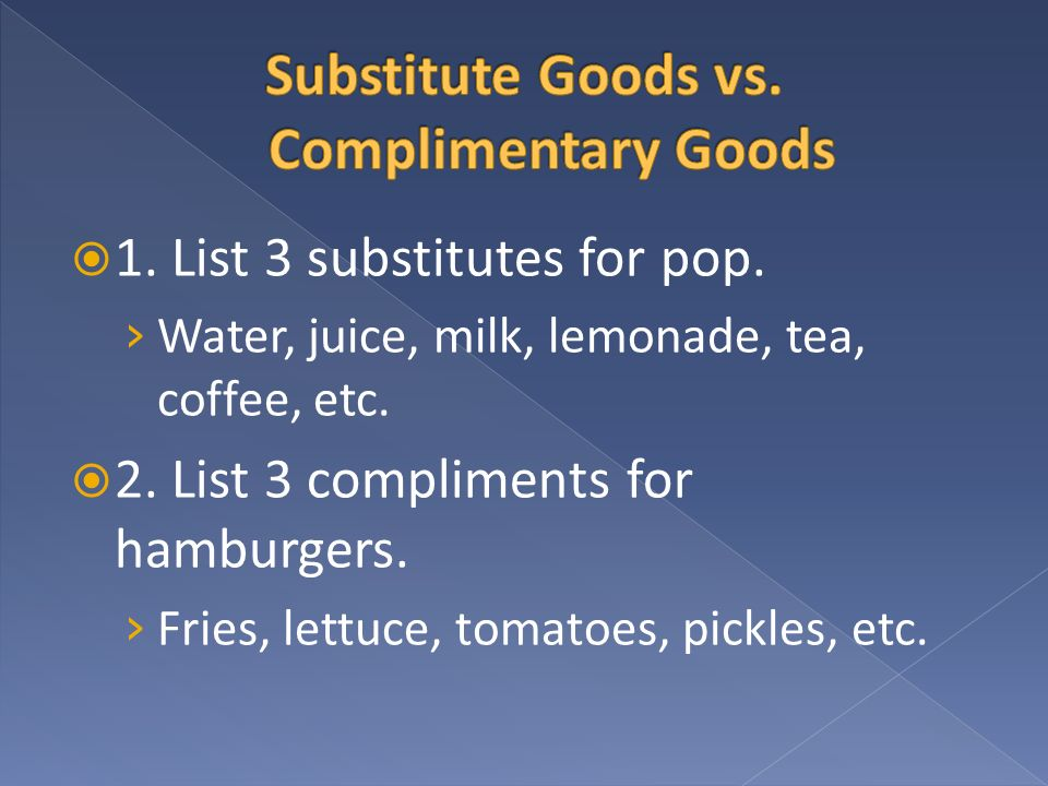 Substitute Goods vs. Complimentary Goods