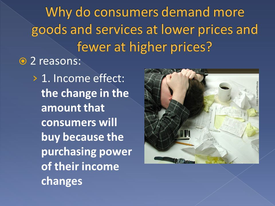 Why do consumers demand more goods and services at lower prices and fewer at higher prices