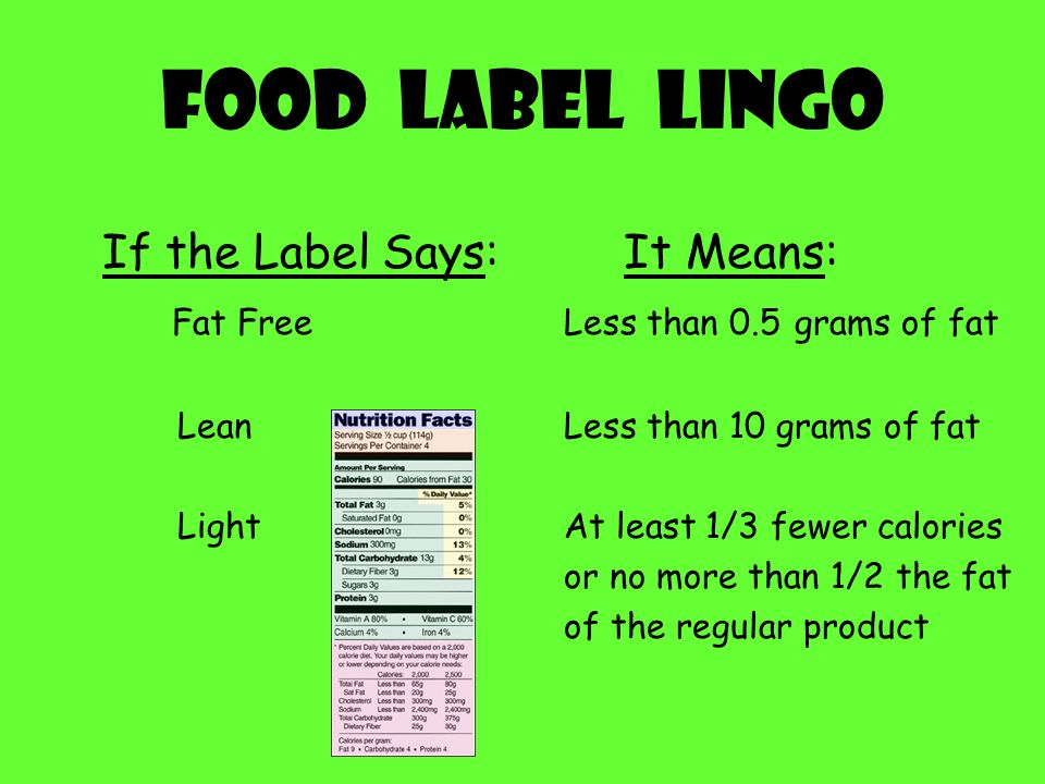 Food Label Lingo If the Label Says: It Means: