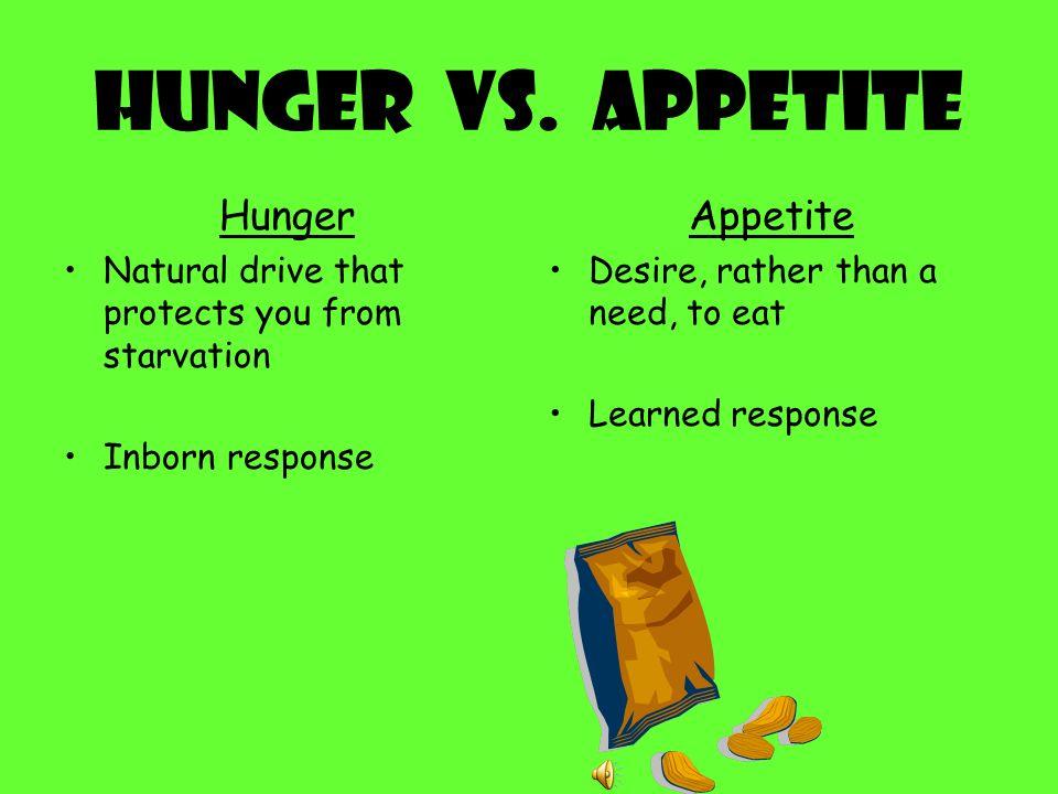 Hunger VS. Appetite Hunger Appetite