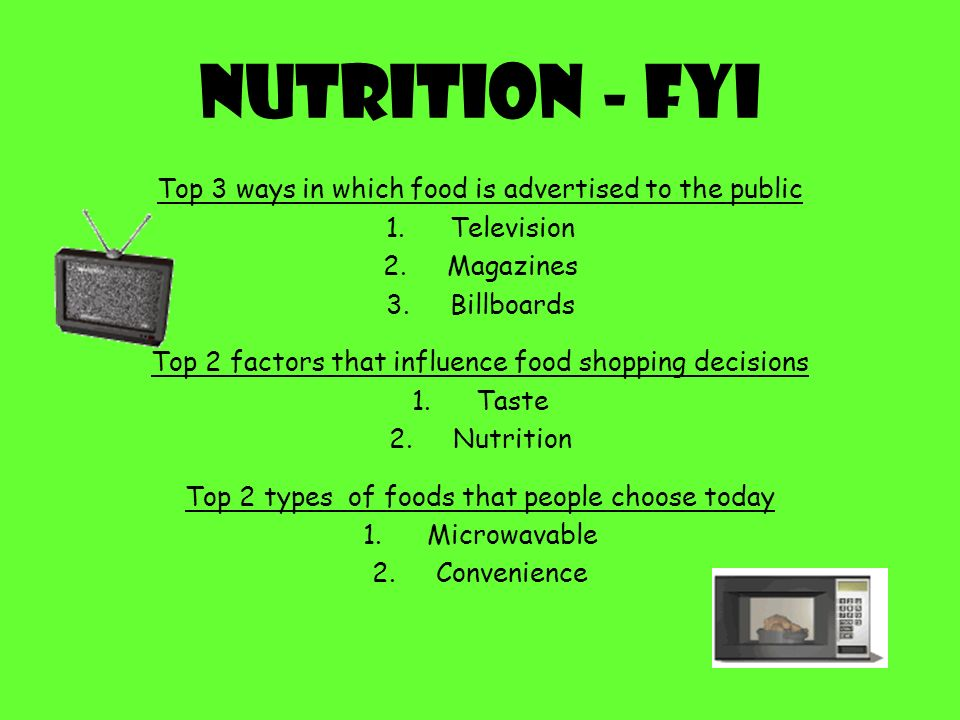 Nutrition - FYI Top 3 ways in which food is advertised to the public