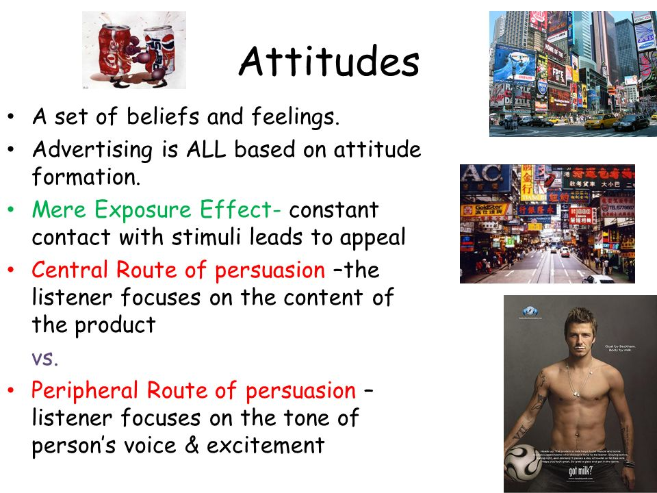Attitudes A set of beliefs and feelings.