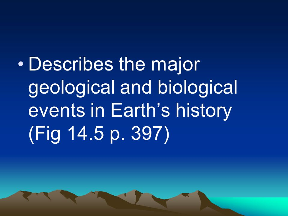 Describes the major geological and biological events in Earth's history (Fig 14.5 p. 397)