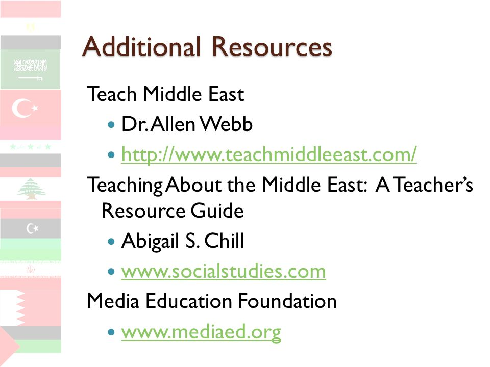 Additional Resources Teach Middle East Dr. Allen Webb