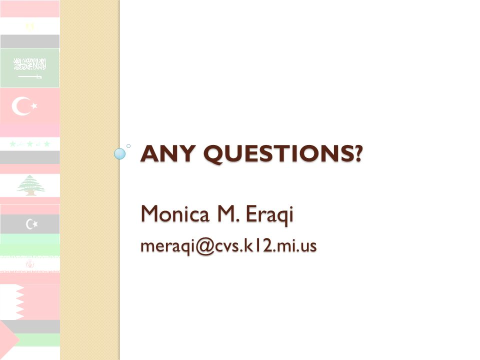 Any Questions Monica M. Eraqi meraqi@cvs.k12.mi.us