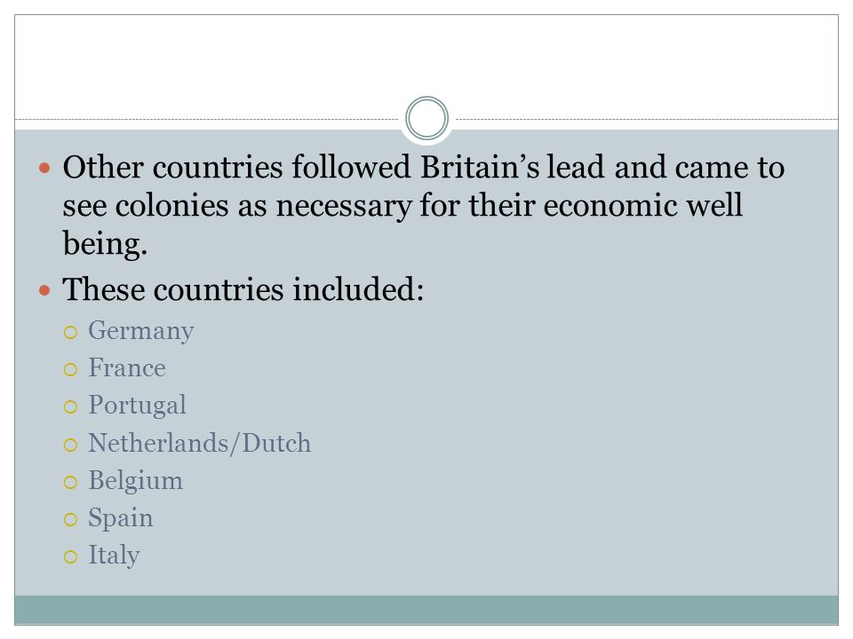 These countries included: