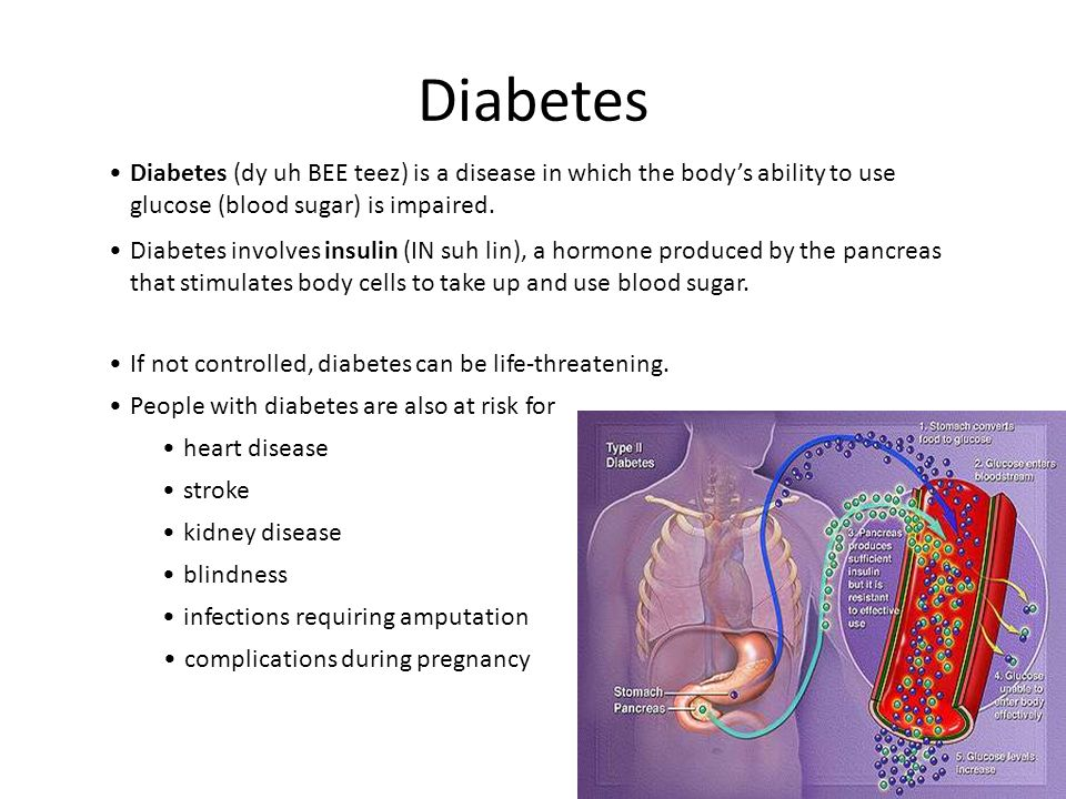 Diabetes Diabetes (dy uh BEE teez) is a disease in which the body's ability to use glucose (blood sugar) is impaired.