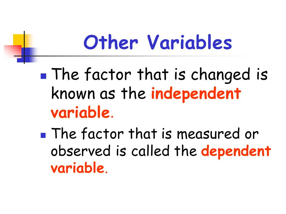 Other Variables The factor that is changed is known as the independent variable.