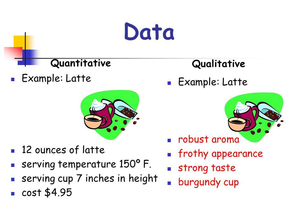 Data Quantitative Qualitative Example: Latte Example: Latte