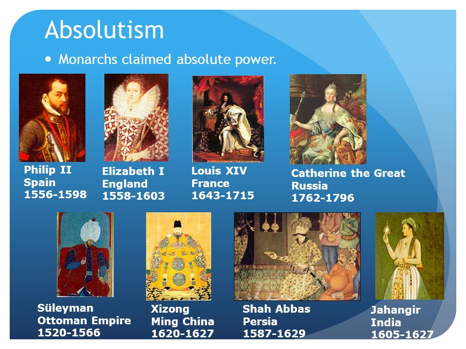 Absolutism Monarchs claimed absolute power. Louis XIV France