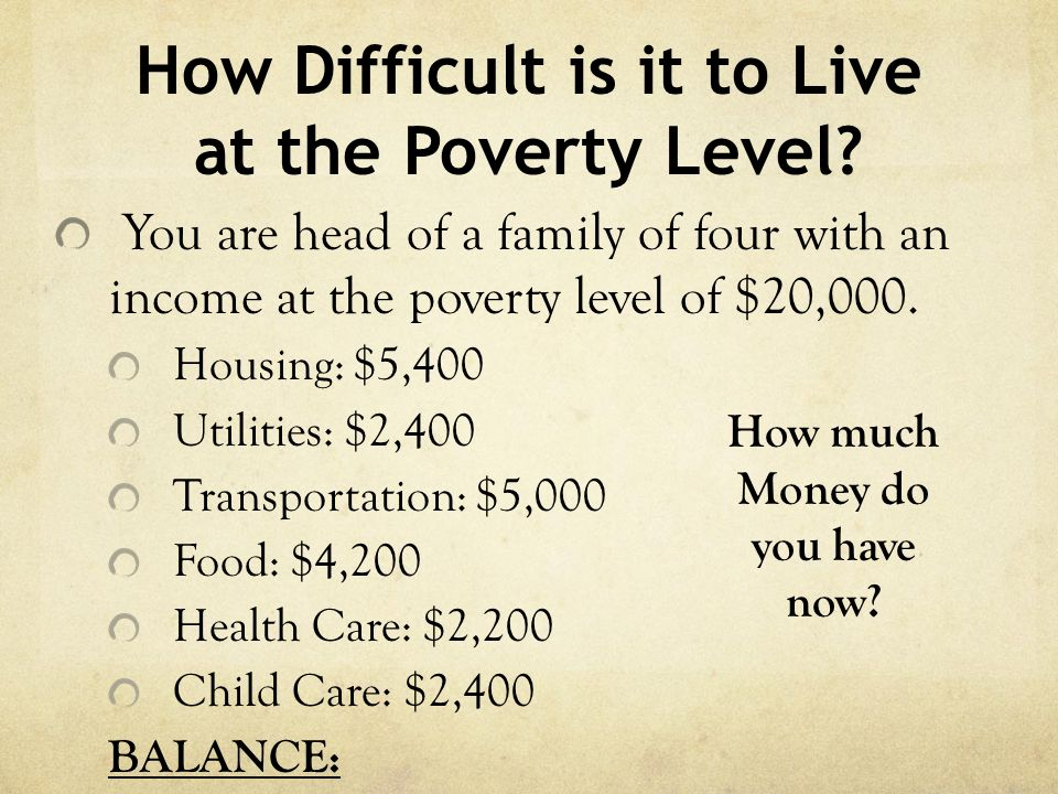 How Difficult is it to Live at the Poverty Level