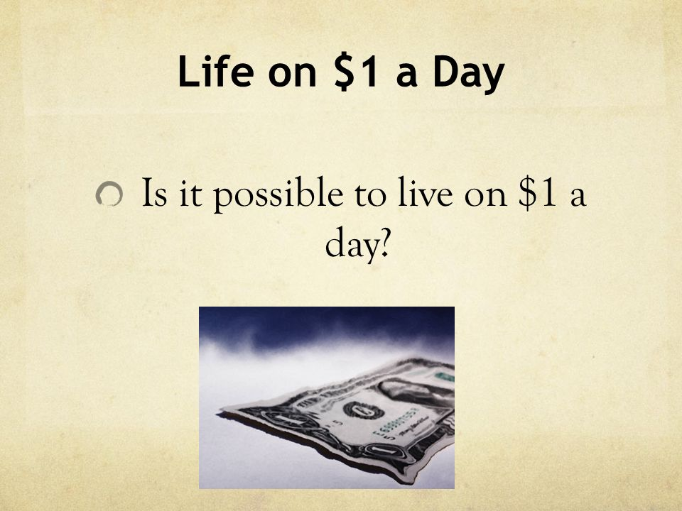Is it possible to live on $1 a day