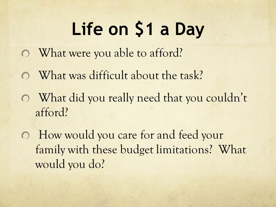 Life on $1 a Day What were you able to afford