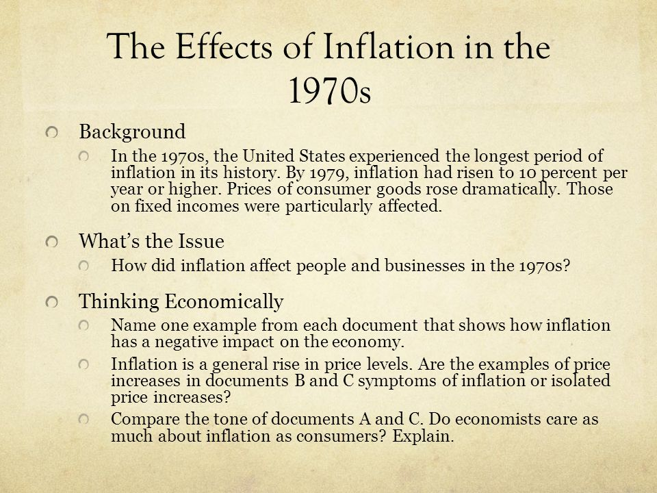 The Effects of Inflation in the 1970s