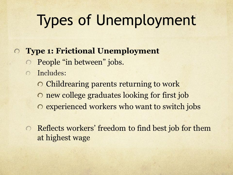 Types of Unemployment Type 1: Frictional Unemployment