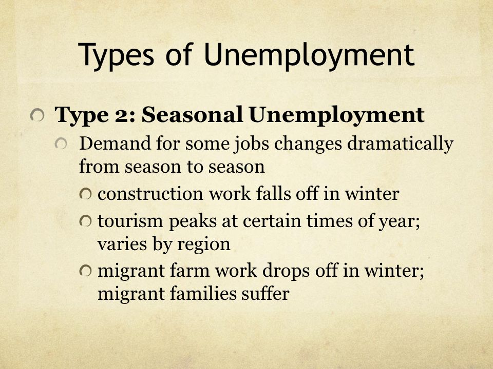 Types of Unemployment Type 2: Seasonal Unemployment