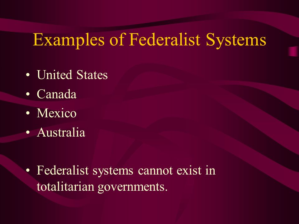 Examples of Federalist Systems