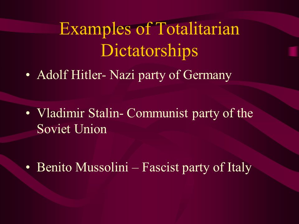 Examples of Totalitarian Dictatorships