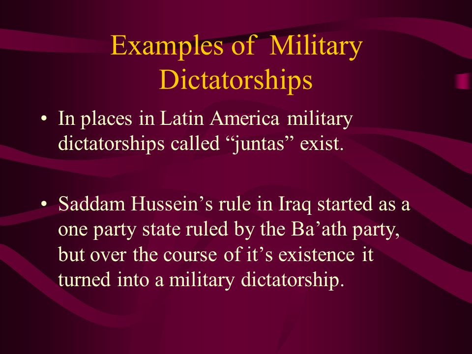 Examples of Military Dictatorships