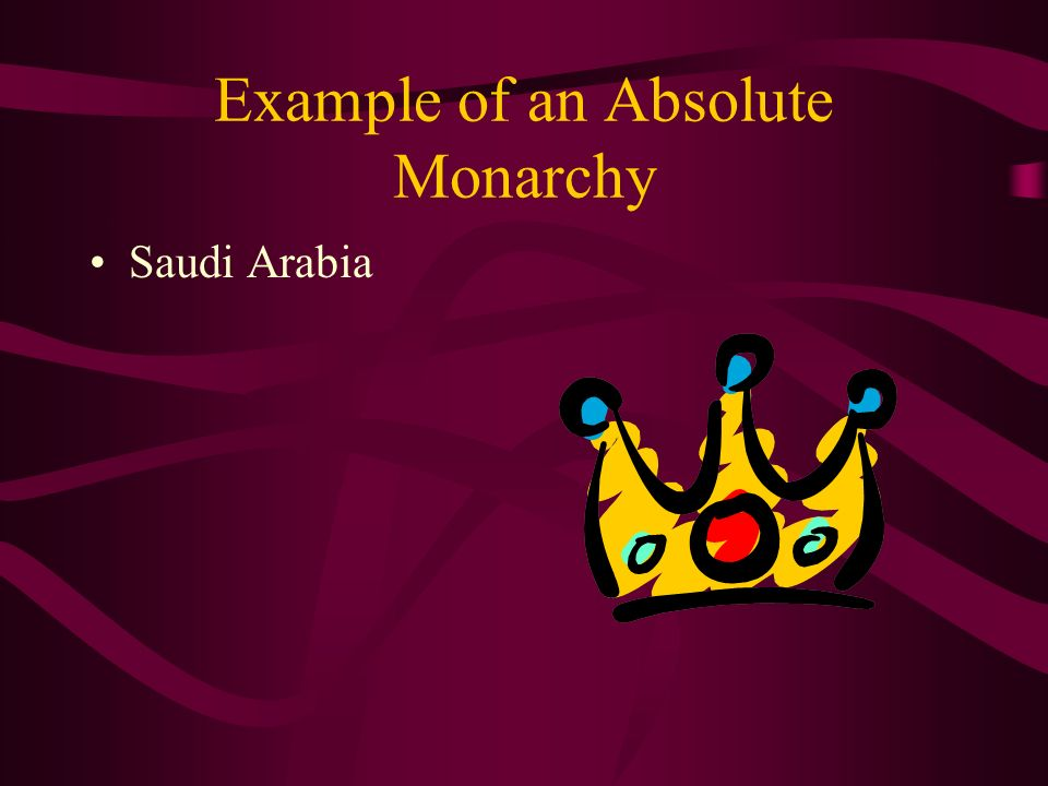 a discusion on the system of absolute monarchy An absolute monarchy is a form of government in which the ruling monarch enjoys absolute control without limitations from a constitution or from law in this form of government, the monarch is the head of state and head of.