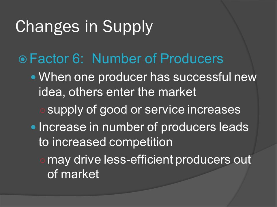 Changes in Supply Factor 6: Number of Producers