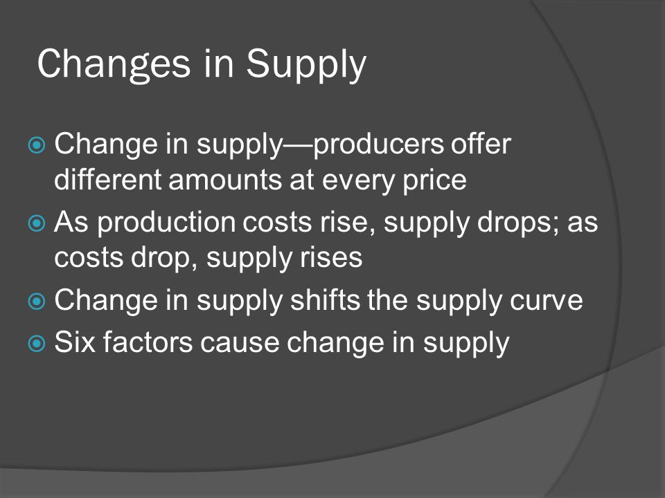 Changes in Supply Change in supply—producers offer different amounts at every price.